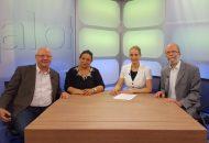 Heidrun Lieb mit ihren Gästen der Sendung Alpha & Omega: Sinti und Roma