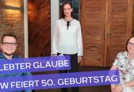 Gelebter Glaube - Foto zeigt Moderatorin Heidrun Lieb mit ihren beiden Gästen im Studio